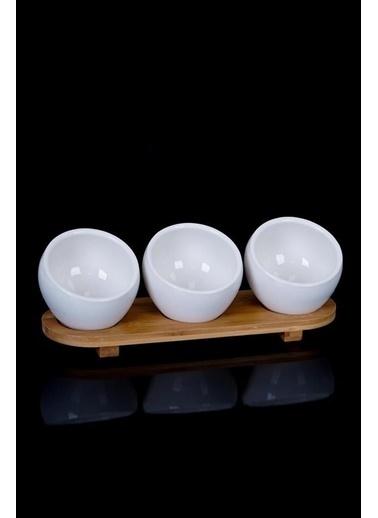 Acar PORJ-010155/12 Acar 3'Lü Bambu Tepsi Oval Porselen Sosluk Porj-010155/12 Renkli